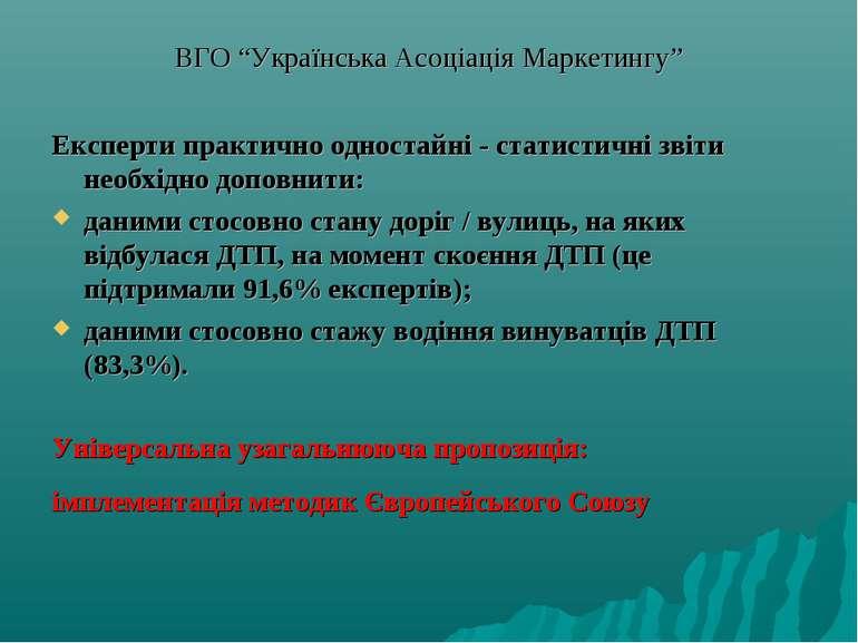 """ВГО """"Українська Асоціація Маркетингу"""" Експерти практично одностайні - статист..."""