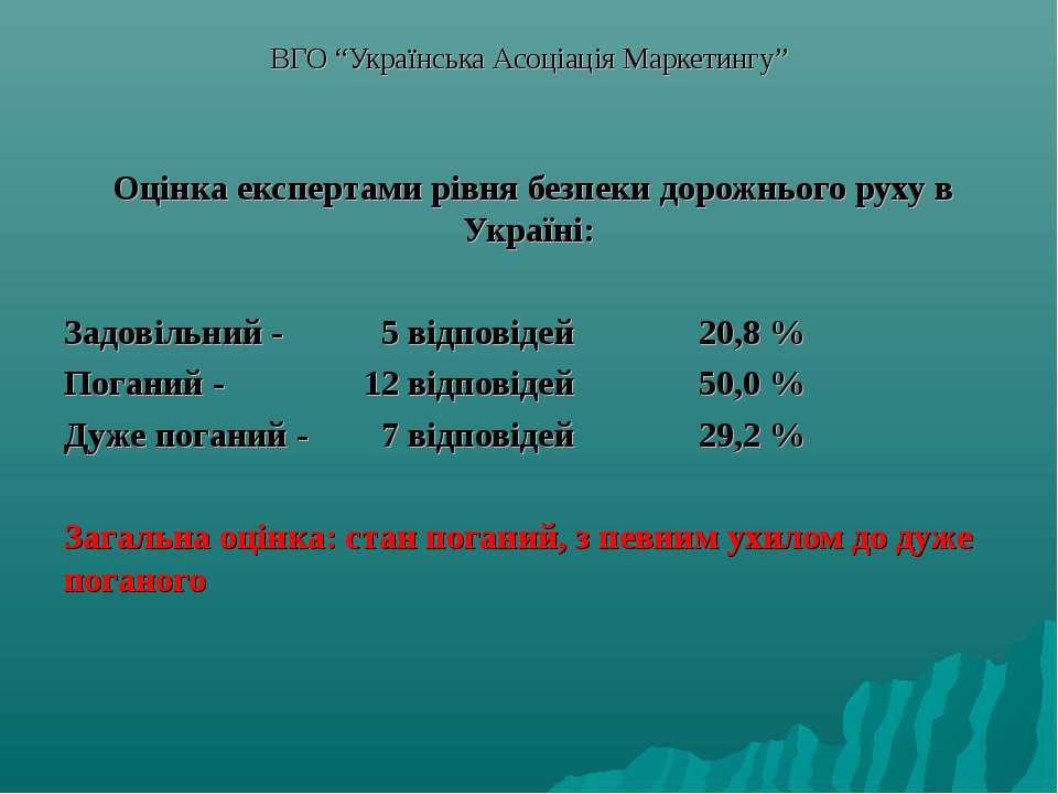 """ВГО """"Українська Асоціація Маркетингу"""" Оцінка експертами рівня безпеки дорожнь..."""