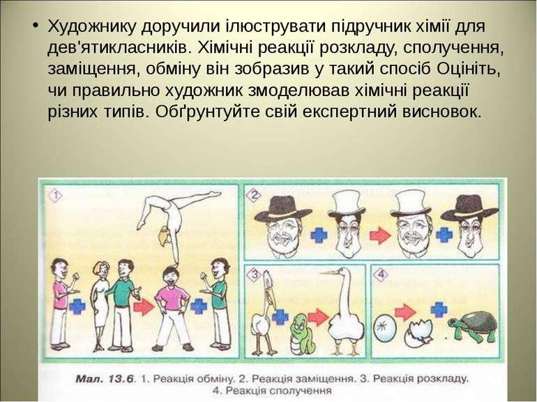 Художнику доручили ілюструвати підручник хімії для дев'ятикласників. Хімічні ...