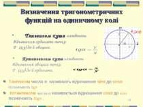 * Визначення тригонометричних функцій на одиничному колі Тангенсом кута назив...