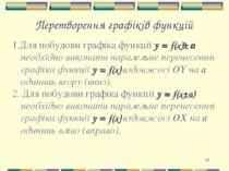 * Перетворення графіків функцій 1.Для побудови графіка функції y = f(x)± а не...