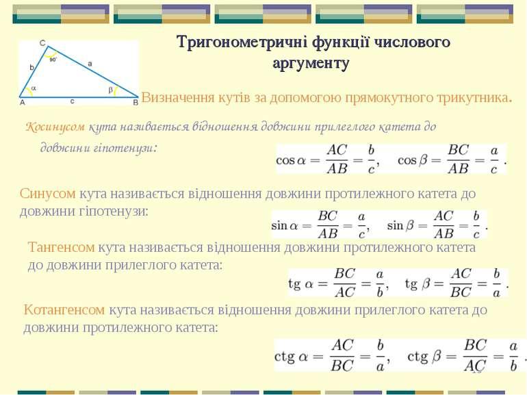 * Тригонометричні функції числового аргументу Визначення кутів за допомогою п...