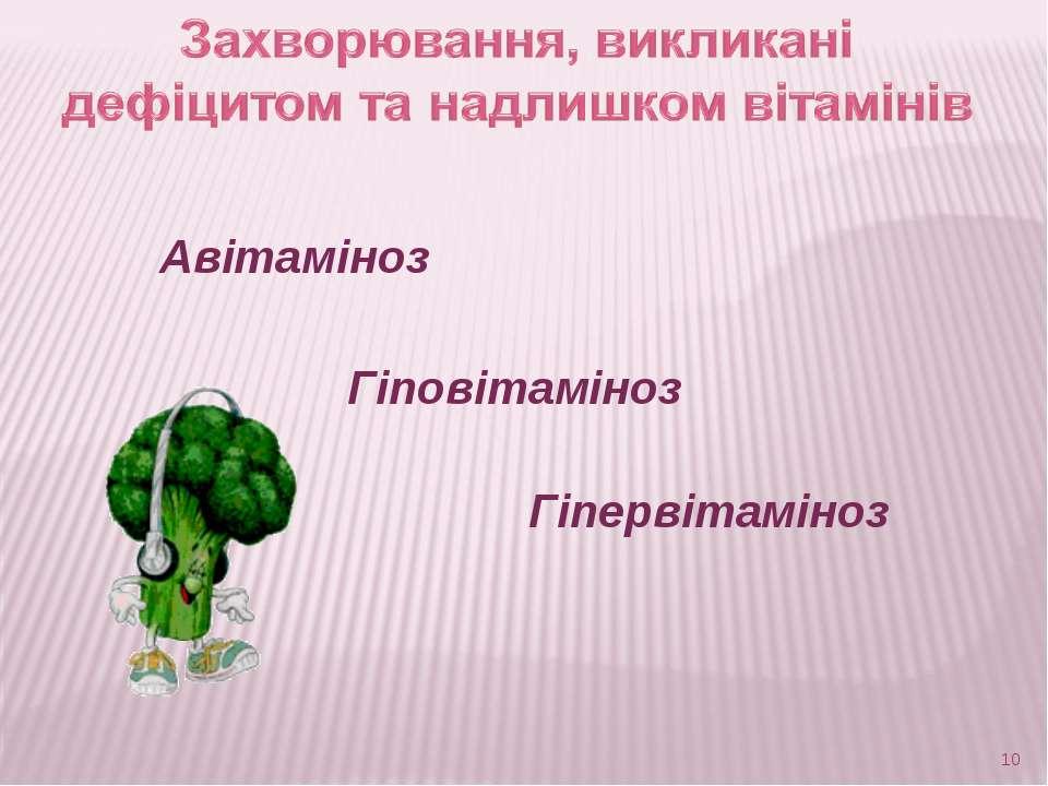Авітаміноз Гіповітаміноз Гіпервітаміноз *