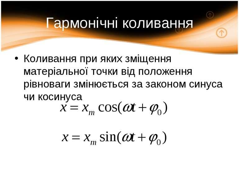 Гармонічні коливання Коливання при яких зміщення матеріальної точки від полож...