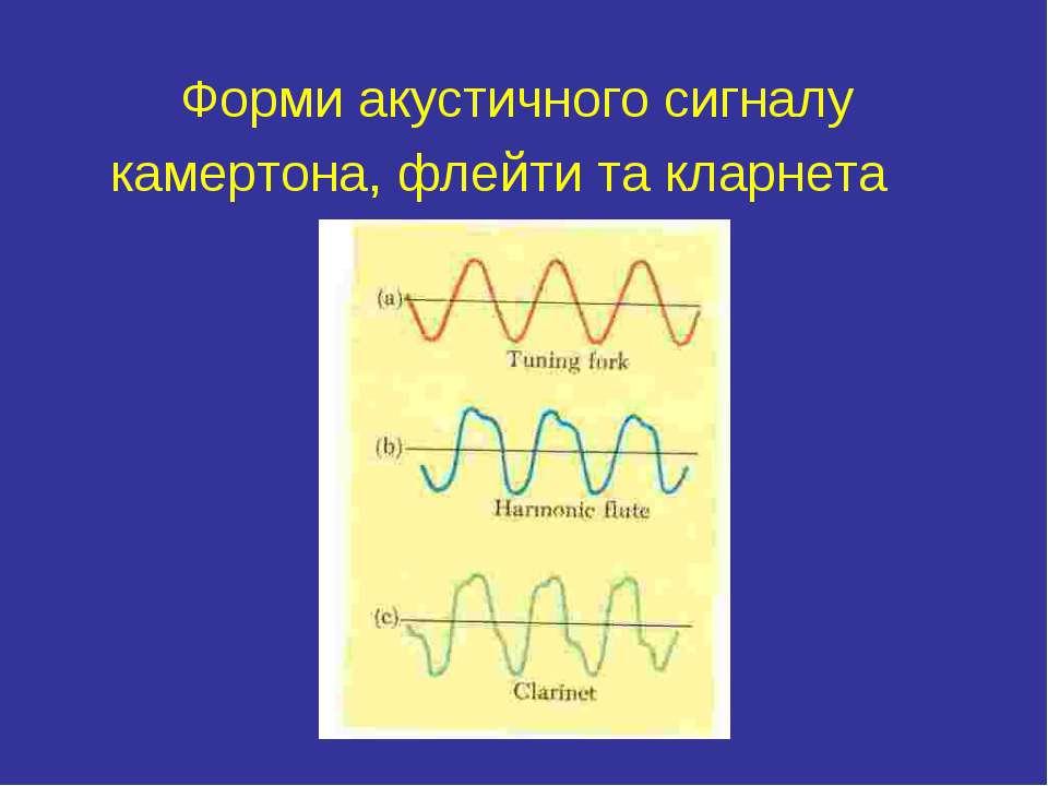 Форми акустичного сигналу камертона, флейти та кларнета