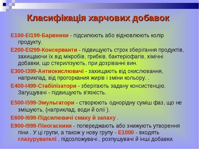 Класифікація харчових добавок Е100-ЕІ199-Барвники - підсилюють або відновлюют...