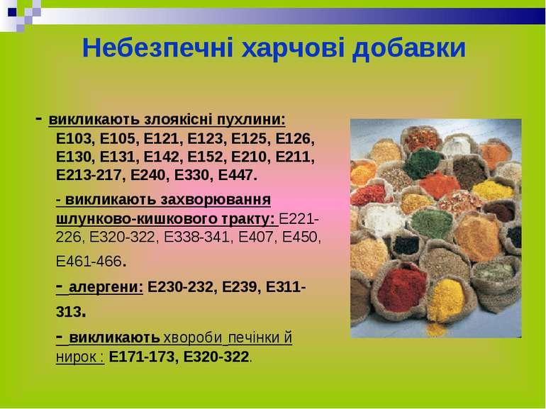 Небезпечні харчові добавки - викликають злоякісні пухлини: Е103, Е105, Е121, ...