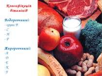Класифікація вітамінів Водорозчинні: - групи В - С - Н - Р Жиророзчинні: А D ...