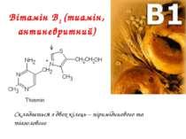 Вітамін В1 (тиамін, антиневритний) Складається з двох кілець – піримідинового...