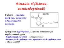 Вітамін Н (біотин, антисеборейний) Будова – сполука тіофену, імідазолу і вале...