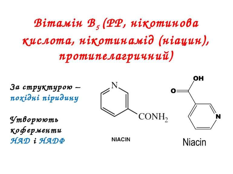 Вітамін В5 (РР, нікотинова кислота, нікотинамід (ніацин), протипелагричний) З...