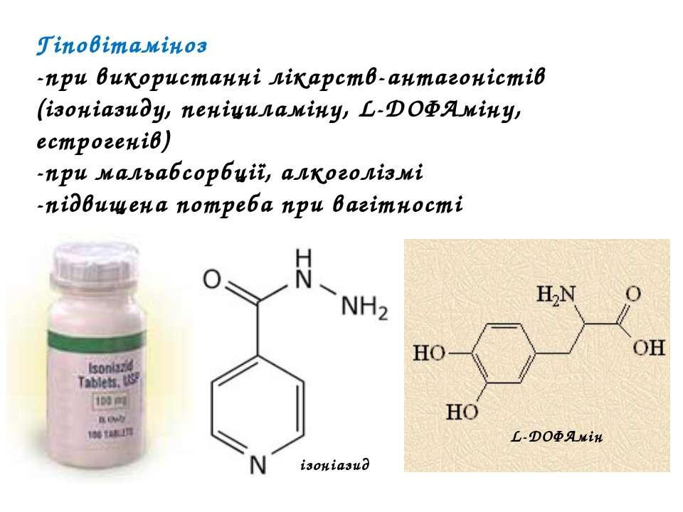 Гіповітаміноз -при використанні лікарств-антагоністів (ізоніазиду, пеніциламі...
