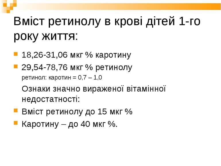 Вміст ретинолу в крові дітей 1-го року життя: 18,26-31,06 мкг % каротину 29,5...
