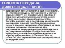 ГОЛОВНА ПЕРЕДАЧА, ДИФЕРЕНЦІАЛ І ПІВОСІ Диференціал автомобілів ВАЗ-2105 і «Мо...