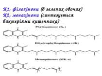 K1, філохінони (в зелених овочах) K2, менахінони (синтезується бактеріями киш...