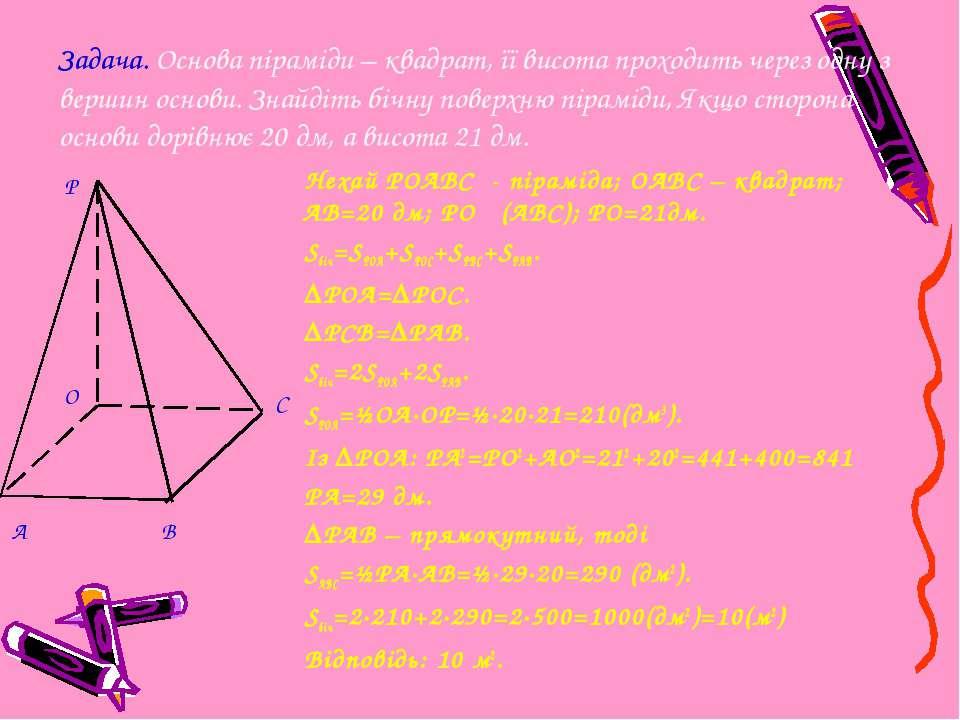 Нехай РOABC - піраміда; ОАВС – квадрат; АВ=20 дм; РО ḻ (АВС); РО=21дм. Sбіч=S...