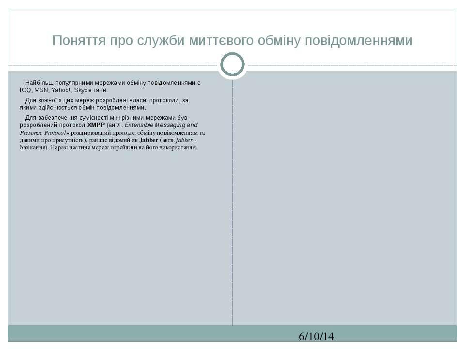 Поняття про служби миттєвого обміну повідомленнями СЗОШ № 8 м.Хмельницького. ...