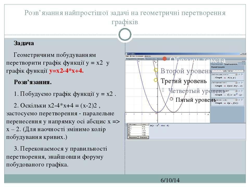 Розв'язання найпростішої задачі на геометричні перетворення графіків СЗОШ № 8...