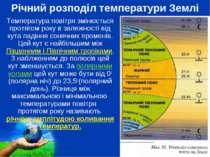 Річний розподіл температури Землі Температура повітря змінюється протягом рок...