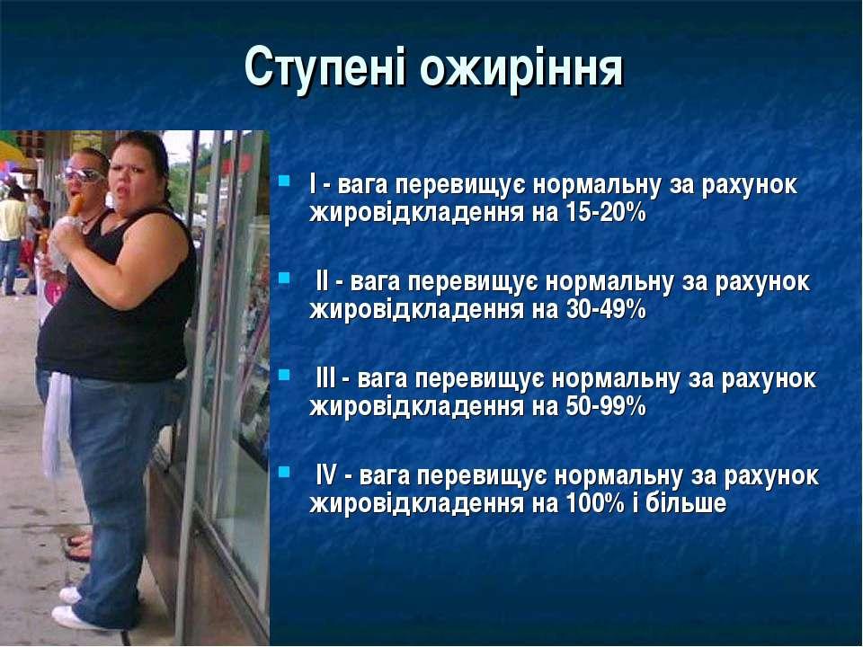 Ступені ожиріння I - вага перевищує нормальну за рахунок жировідкладення на 1...
