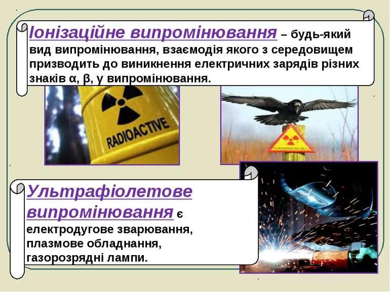 Іонізаційне випромінювання – будь-який вид випромінювання, взаємодія якого з ...