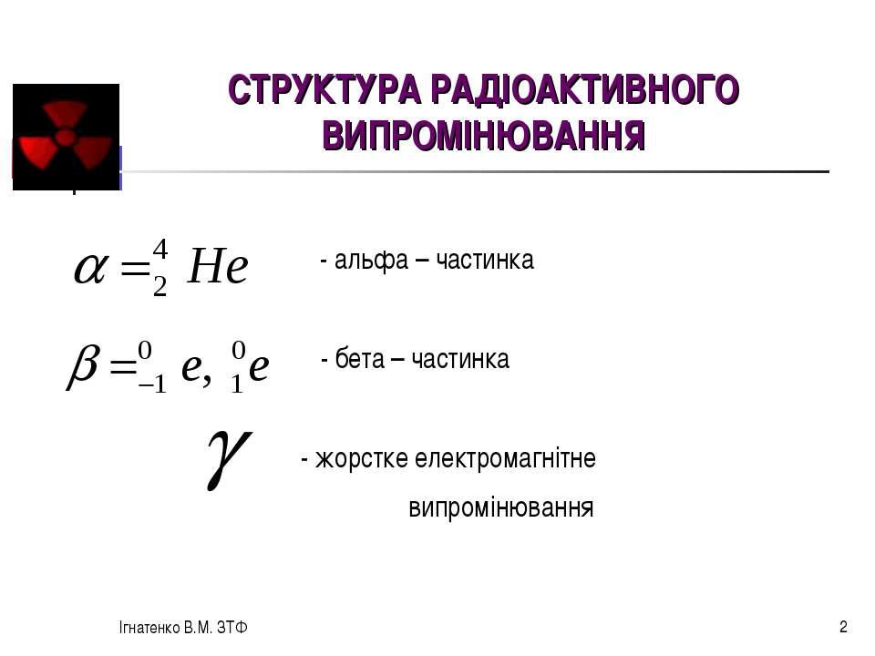 Ігнатенко В.М. ЗТФ * - альфа – частинка - бета – частинка - жорстке електрома...