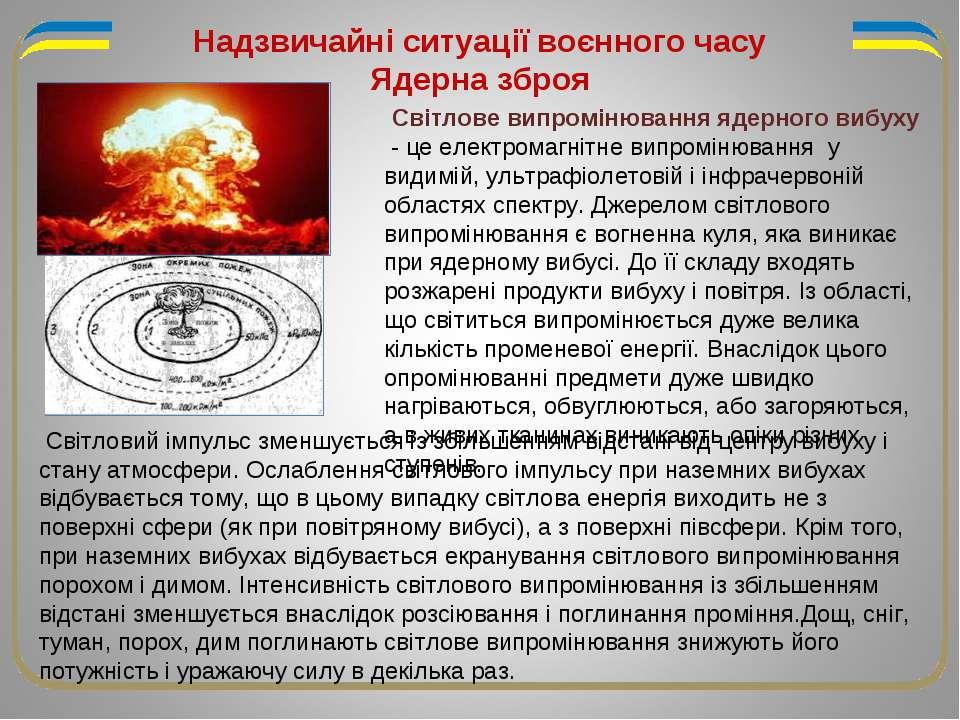 Світлове випромінювання ядерного вибуху - це електромагнітне випромінювання у...