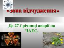 «Зона відчудження» До 27-ї річниці аварії на ЧАЕС.