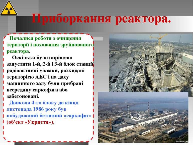 Приборкання реактора. Почалися роботи з очищення території і поховання зруйно...