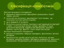 Класифікація ксенобіотиків Фактори природного походження: збудники й переносн...