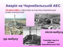 Аварія на Чорнобильській АЕС 26 квітня 1986 р. стався вибух на 4-му блоці Чор...