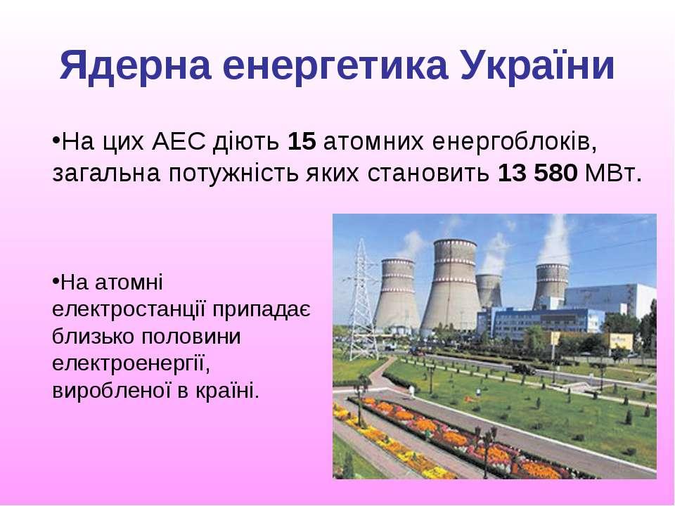 Ядерна енергетика України На цих АЕС діють 15 атомних енергоблоків, загальна ...