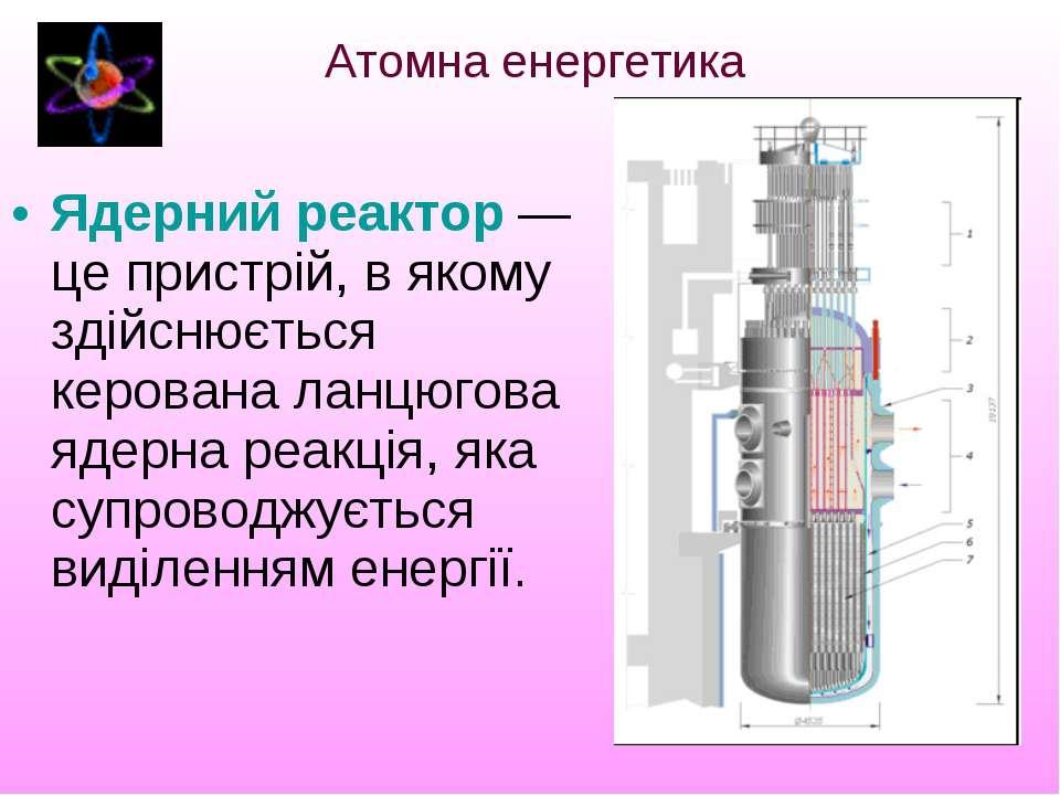 Ядерний реактор—це пристрій, в якому здійснюється керована ланцюгова ядерна ...