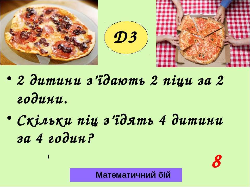 D3 2 дитини з'їдають 2 піци за 2 години. Скільки піц з'їдять 4 дитини за 4 го...