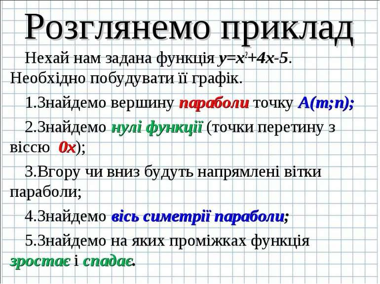 Розглянемо приклад Нехай нам задана функція y=x2+4x-5. Необхідно побудувати ї...