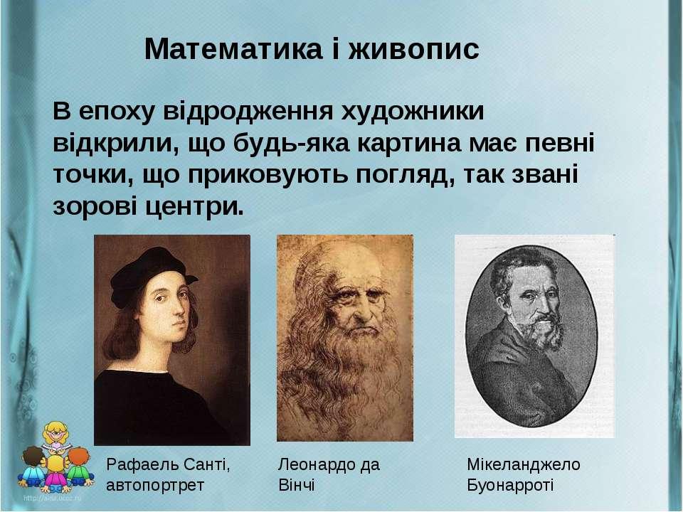 Математика і живопис В епоху відродження художники відкрили, що будь-яка карт...