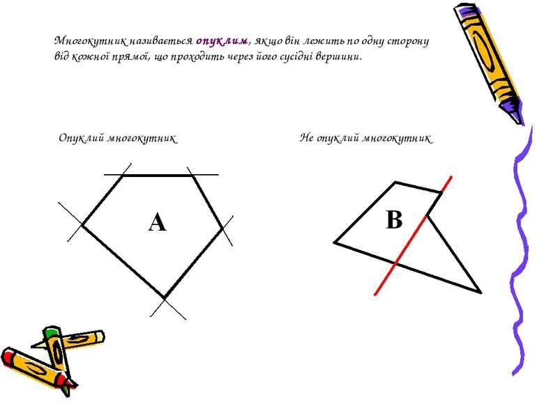 Многокутник називається опуклим, якщо він лежить по одну сторону від кожної п...