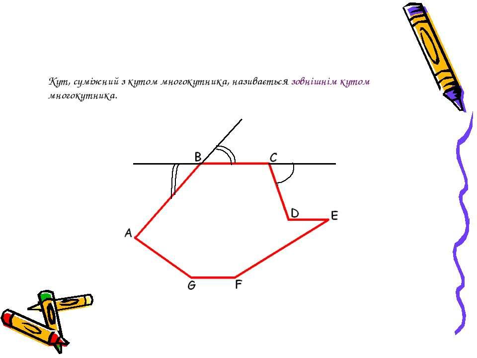 Кут, суміжний з кутом многокутника, називається зовнішнім кутом многокутника.