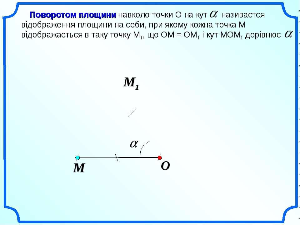 O Поворотом площини навколо точки О на кут називаєтся відображення площини на...