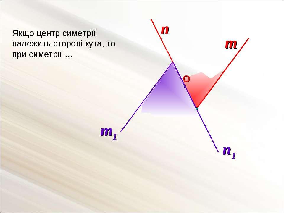 n Якщо центр симетрії належить стороні кута, то при симетрії … m