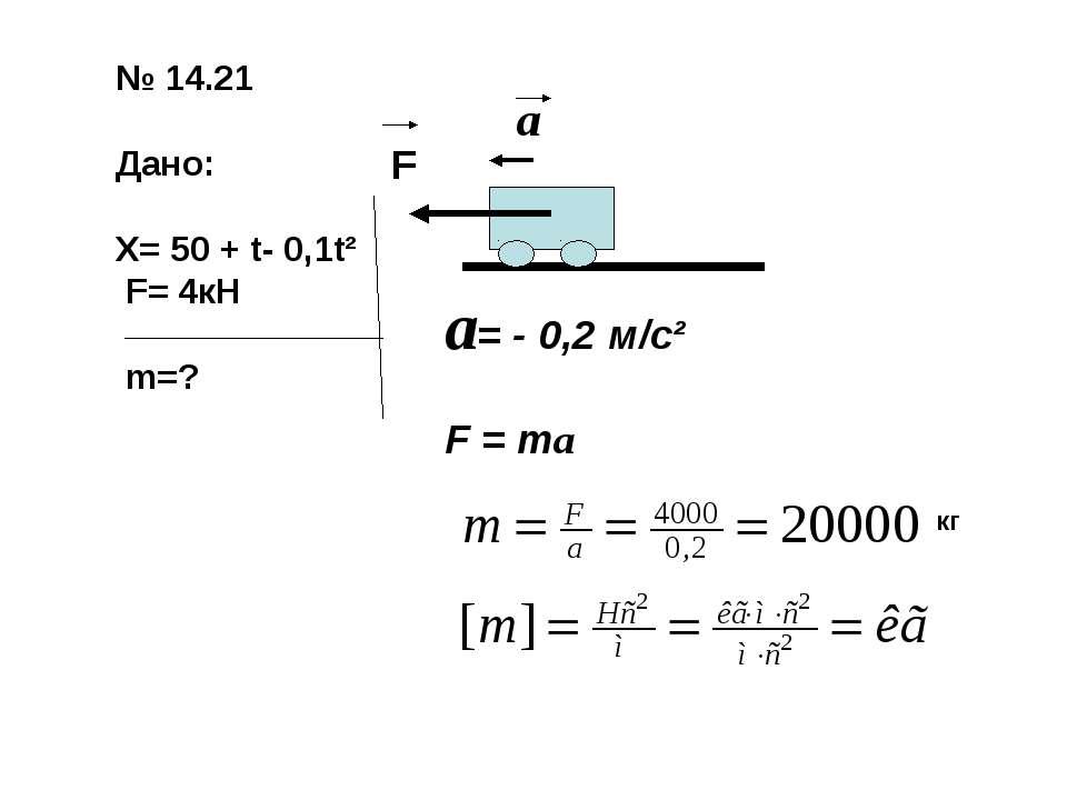 № 14.21 Дано: Х= 50 + t- 0,1t² F= 4кН m=? F a a= - 0,2 м/с² F = ma кг