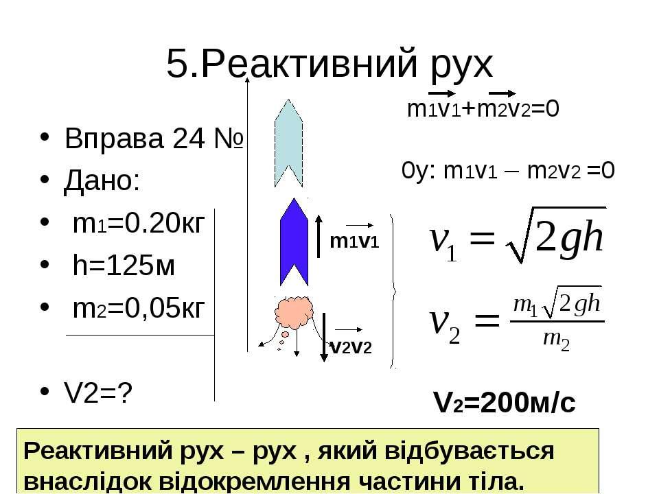 5.Реактивний рух Вправа 24 № Дано: m1=0.20кг h=125м m2=0,05кг V2=? m1v1 v2v2 ...