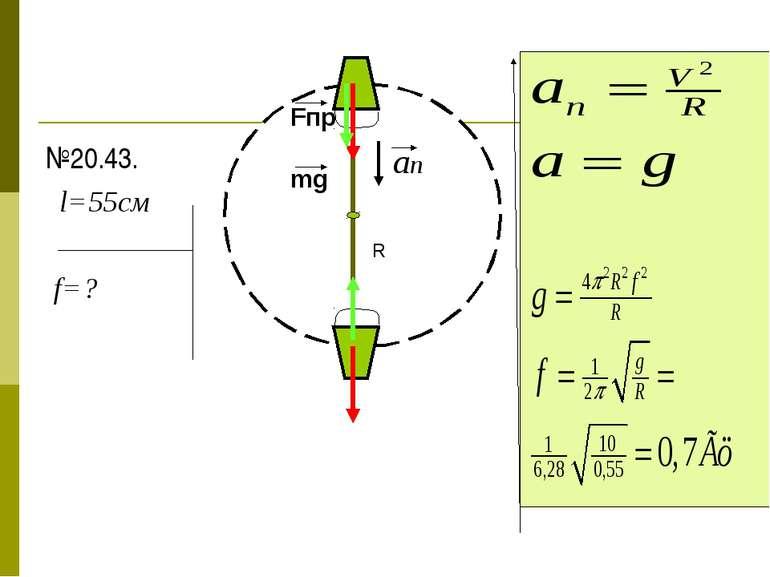 №20.43. l=55см f=? Fпр mg an R