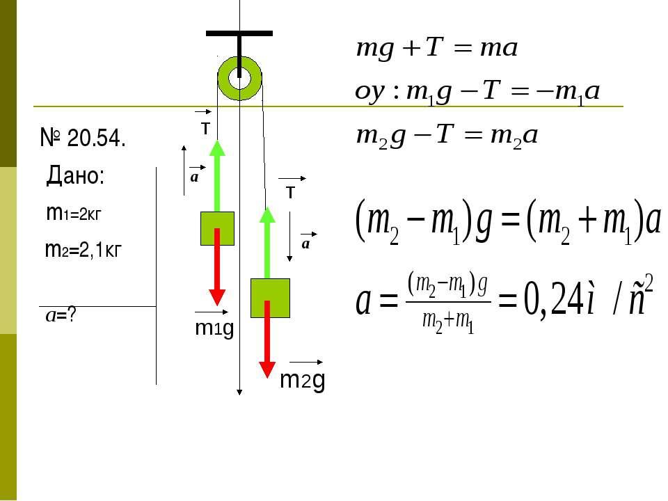№ 20.54. Дано: m1=2кг m2=2,1кг а=? m1g m2g T T a a