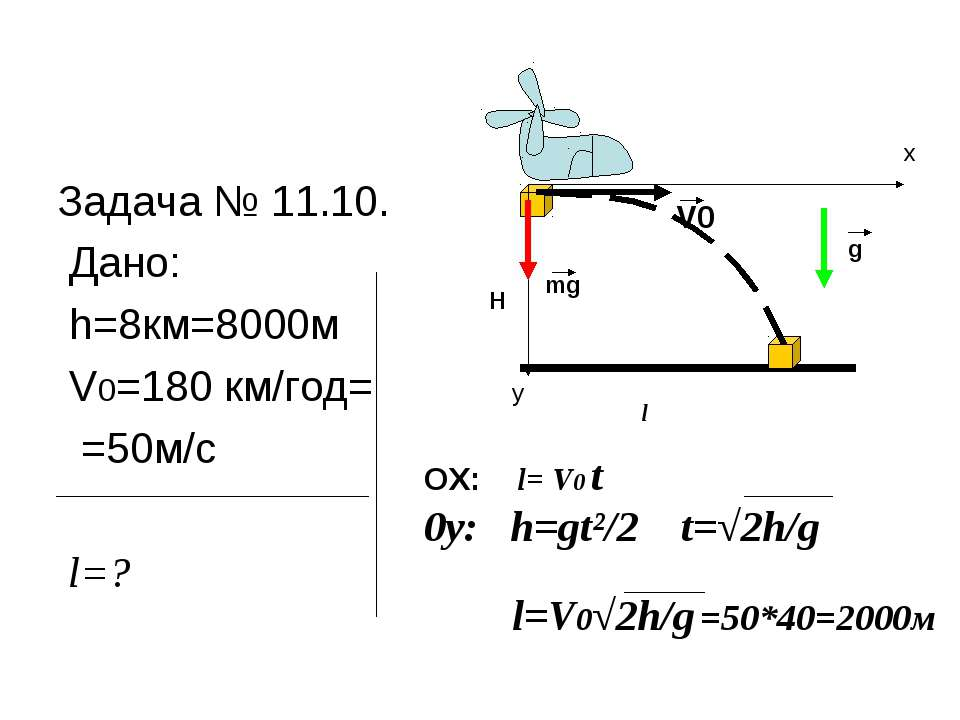 Задача № 11.10. Дано: h=8км=8000м V0=180 км/год= =50м/с l=? V0 H mg l x y g О...