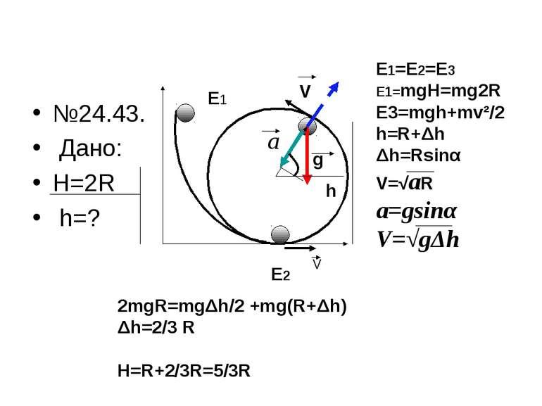 №24.43. Дано: H=2R h=? E1 E2 V E1=E2=E3 E1=mgH=mg2R E3=mgh+mv²/2 h=R+Δh Δh=Rs...
