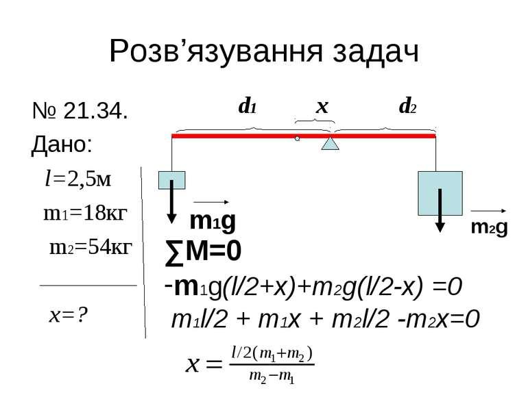 Розв'язування задач № 21.34. Дано: l=2,5м m1=18кг m2=54кг x=? d1 x d2 m1g m2g...