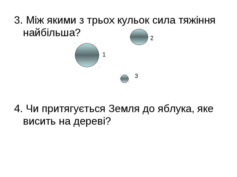 3. Між якими з трьох кульок сила тяжіння найбільша? 4. Чи притягується Земля ...