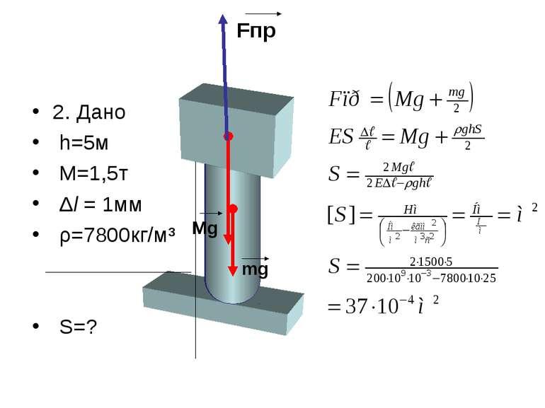 2. Дано h=5м М=1,5т Δl = 1мм ρ=7800кг/м³ S=? Fпр Mg mg