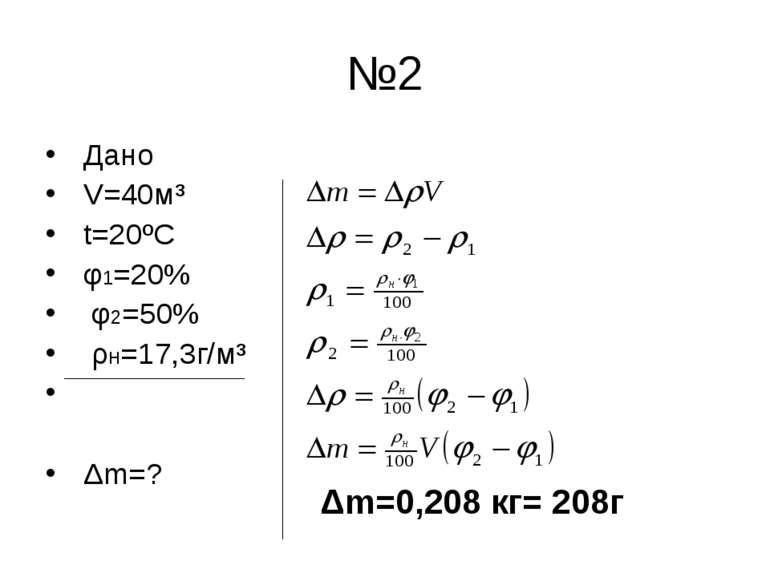 №2 Дано V=40м³ t=20ºC φ1=20% φ2=50% ρн=17,3г/м³ Δm=? Δm=0,208 кг= 208г